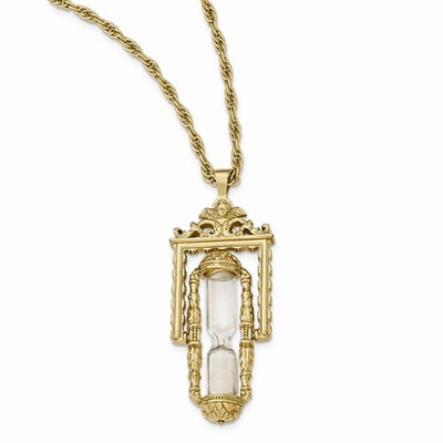 Gold tone glass and sand workable hourglass pendant necklace hourglass pendant necklace product sku 23bf265875 share mozeypictures Image collections