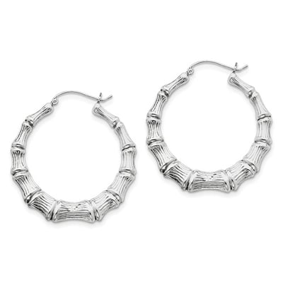 46929f032 Sterling Silver Bamboo Hoop Earrings Product SKU: 23QE471075. Share