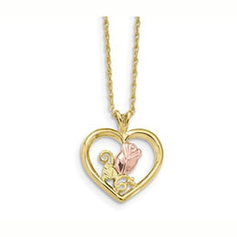 Black Hills Gold Rose in Heart Necklace