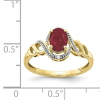 10K Yellow Gold Ruby Diamond Ring