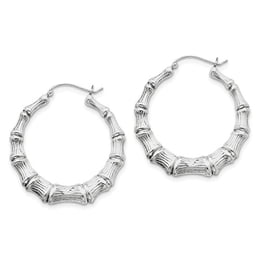 Silver Classic Bamboo Hoops