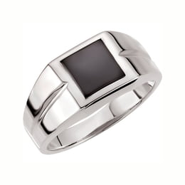 Men's Silver Square Onyx Ring