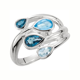 Blue Topaz Silver Bypass Ring