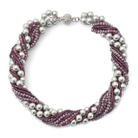 Purple Austrian And Czech Crystal With Glass Beads And Grey Glass Pearls Necklace