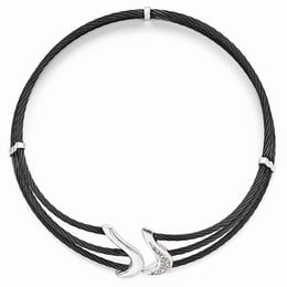 Sophisticated Black Titanium & Silver Collar Necklace