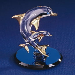 Dolphin And Baby Glass Figurine
