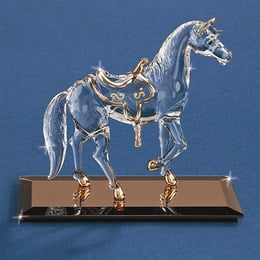 Horse With Saddle Glass Figurine