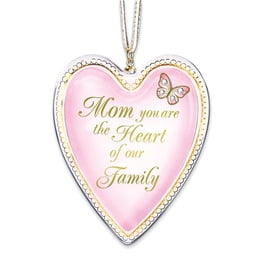 Mom Heart Of Our Family Glass Ornament