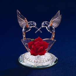 Hummingbirds And Red Rose Glass Figurine