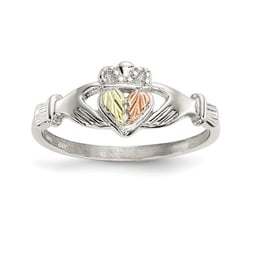 Silver Claddagh & 12k Gold Accents Ring