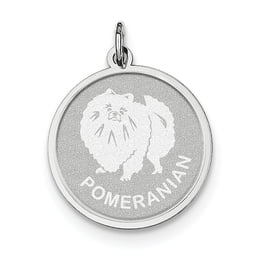 Sterling Silver Pomeranian Disc Charm