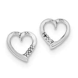 Sterling Silver Diamond Heart Post Earrings