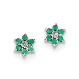 Sterling Silver Emerald And Diamond Flower Post Earrings