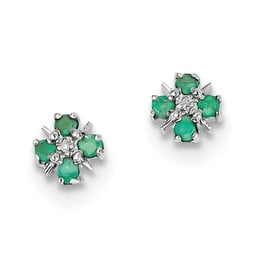 Sterling Silver Emerald And Diamond Post Earrings