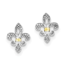 Sterling Silver And 14k Yellow Gold Diamond Fleur De Lis Post Earrings