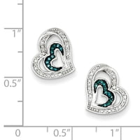 Sterling Silver Blue And White Diamond Heart Post Earrings