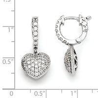 Sterling Silver Plated CZ Hinged Hoop Dangle Heart Earrings