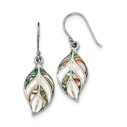 Sterling Silver Leaf Mother Of Pearl And Abalone Dangle Earrings