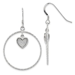 Silver Enamel Glitter Heart & Circle Earrings