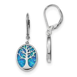 Sterling Silver Created Opal Tree Of Life Earrings