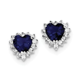 Sterling Silver Dark Blue And Clear CZ Heart Earrings
