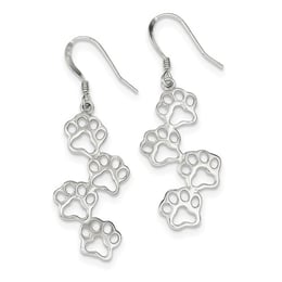 Adorable Puppy Print Silver Earrings