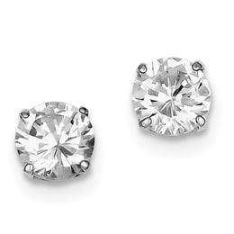 Sterling Silver Round CZ 8mm Post Earrings