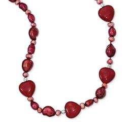 Red Jade Hearts & Pearl Necklace