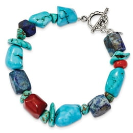 Turquoise, Red Coral, Lapis, & Howlite Bracelet