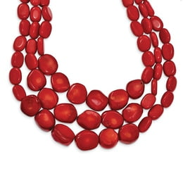 Red Coral Triple Strand Necklace