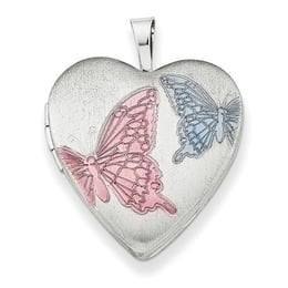 Colorful Butterfly Heart Locket