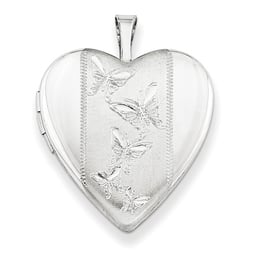 Silver Butterfly Center Heart Locket