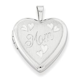 "Silver ""Mom"" Heart Locket"