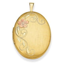 Gold Plated Satin Floral Locket