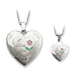 "Silver ""I Love You"" Locket and Matching Pendant"