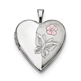 Silver Enameled Flower Butterfly Locket