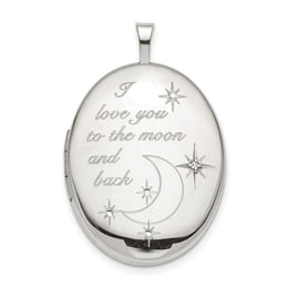 Moon and Back Silver Oval Locket