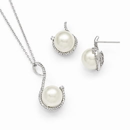 Sterling Silver White Shell Bead And CZ Earring And Necklace Set