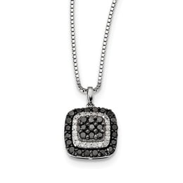 Sterling Silver Black And White Diamond Pendant Necklace