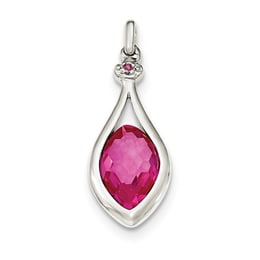 Sterling Silver Synthetic Red Fancy-Cut Marquise Pendant