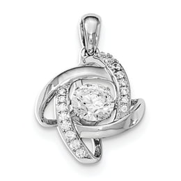 Sterling Silver Platinum-Plated Vibrant Swarovski Zircon And CZ Pendant