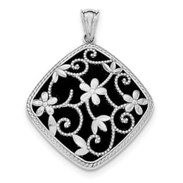 Sterling Silver Textured And D/C Onyx Pendant