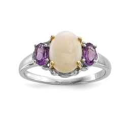 Sterling Silver And 14K Opal And Amethyst Ring