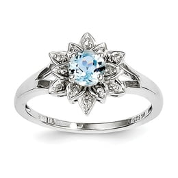 Sterling Silver Diamond And Light Blue Topaz Ring