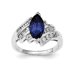Sterling Silver Synthetic Blue Sapphire And CZ Marquise Ring