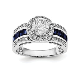 Sterling Silver CZ And Sapphire Ring
