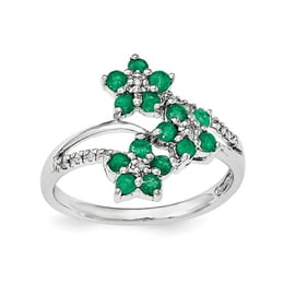 Sterling Silver 3 Flower Emerald And Diamond Ring