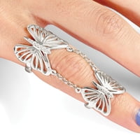 Sterling Silver CZ Butterfly Double Ring
