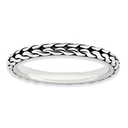 Sterling Silver Antiqued Stackable Ring