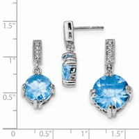 Sterling Silver Blue And Clear CZ Pendant And Earring Set